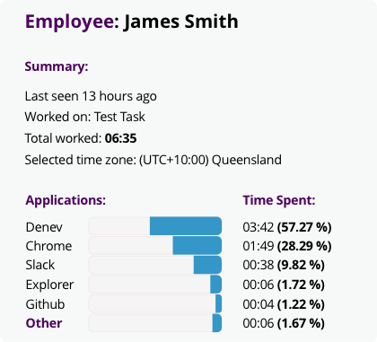View an employee's timeline to see how much time was spent on different projects, the employee's activity level, as well as the applications that were running and the websites visited