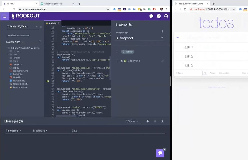 Rookout troubleshooting live code