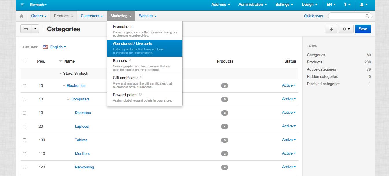 CS-Cart admin panel user interface