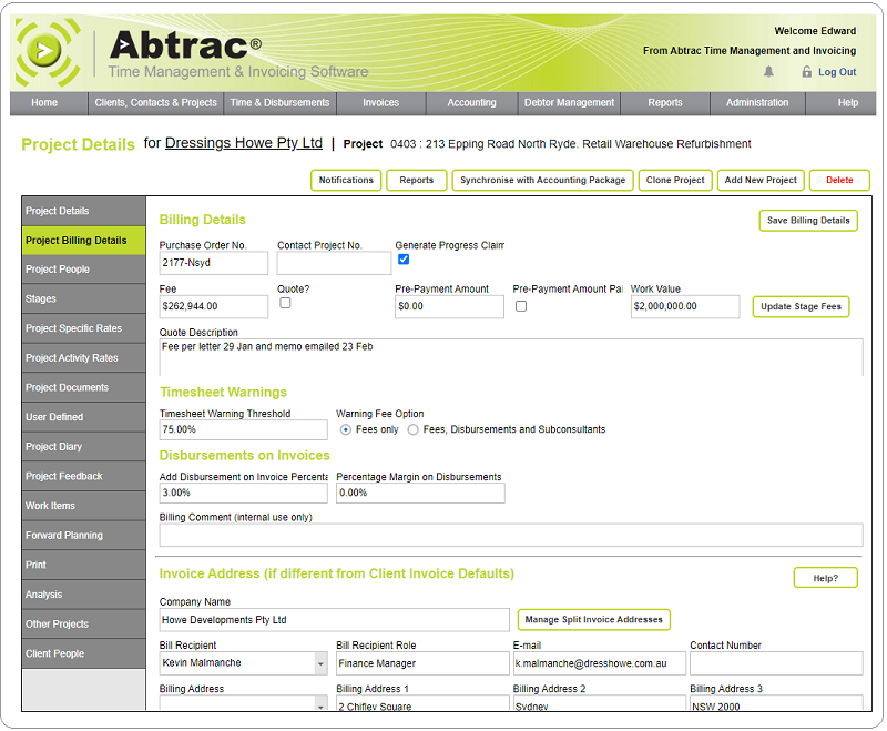 Abtrac Software - Job Management Menus