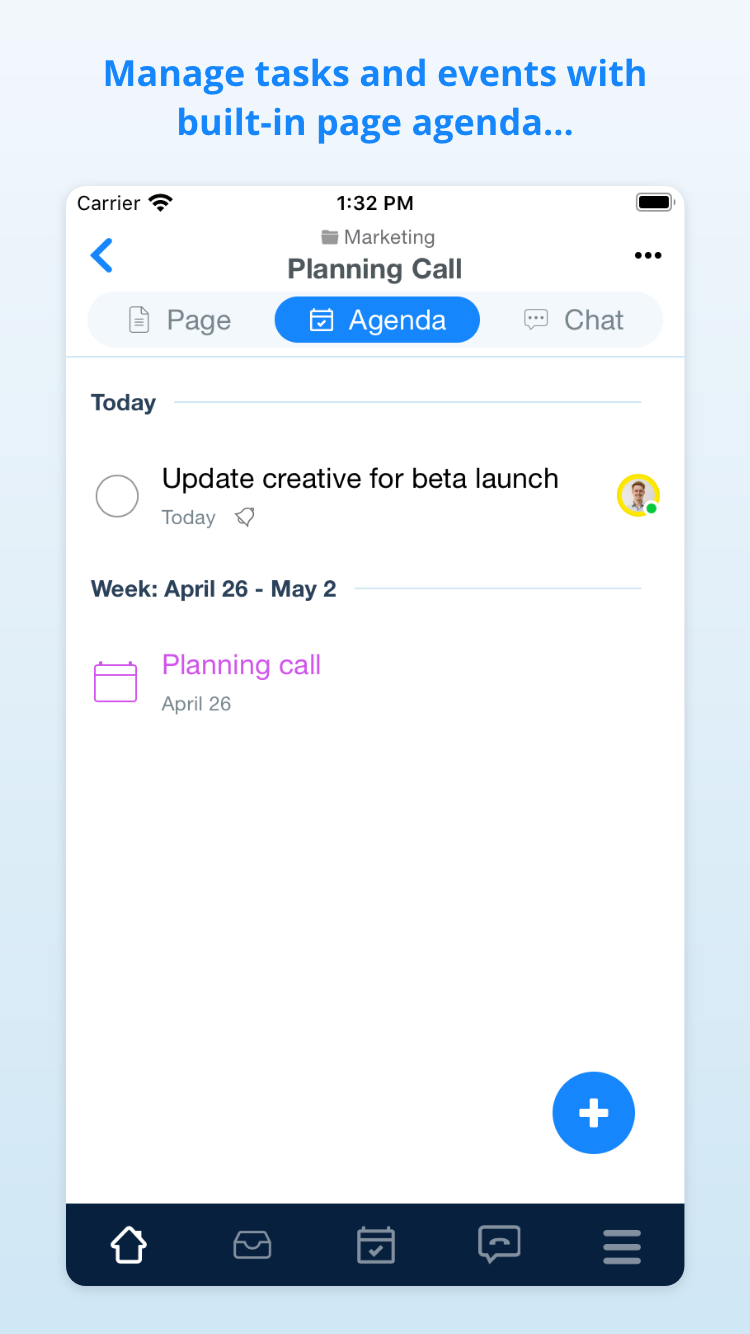 See all tasks and events for a document in the Agenda tab.