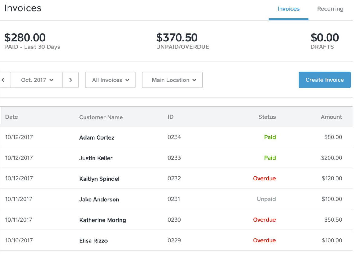 Invoices can be filtered by status, location, and date