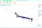 Simio screenshot: Create models in 2D and view them in 3D by clicking on the 3D icon from the ribbon
