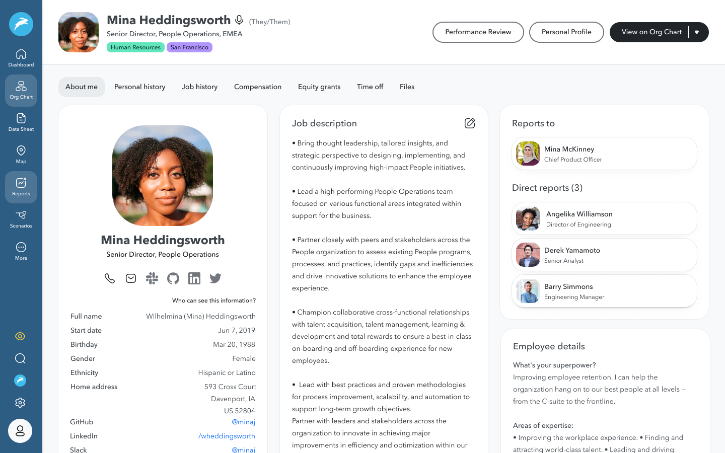 Rich employee profiles: Drive connections across your employee base while humanizing your people data