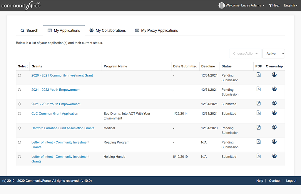 Applicant Portal - Dashboard for the applicant to manage their applications