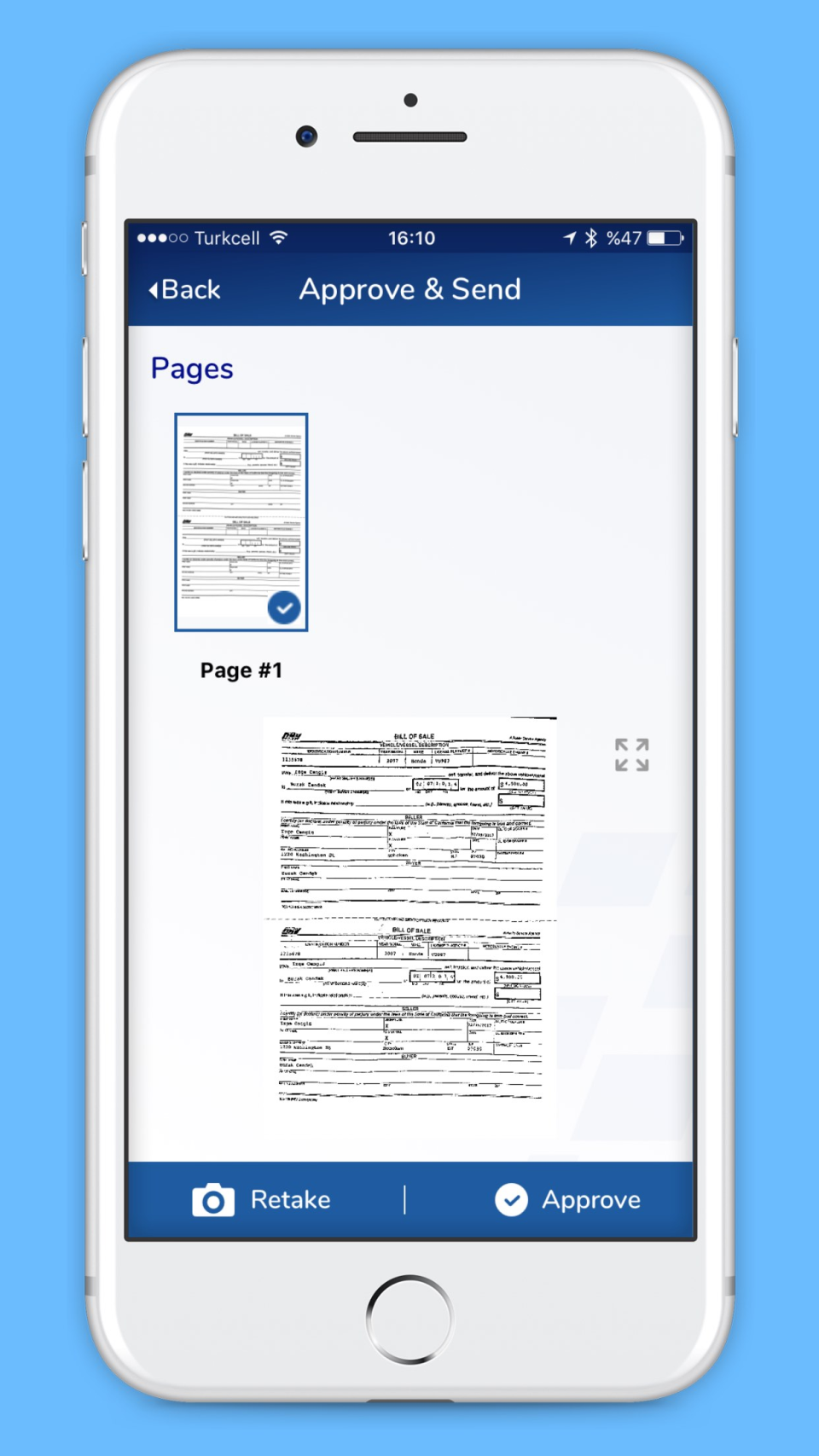 Approve & send captured documents