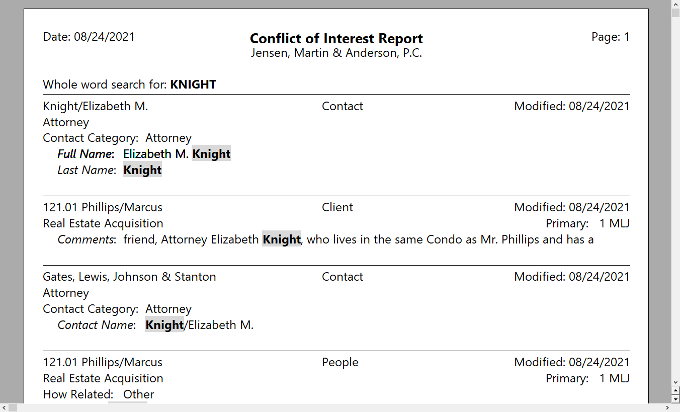 PracticeMaster Conflict of Interest Report