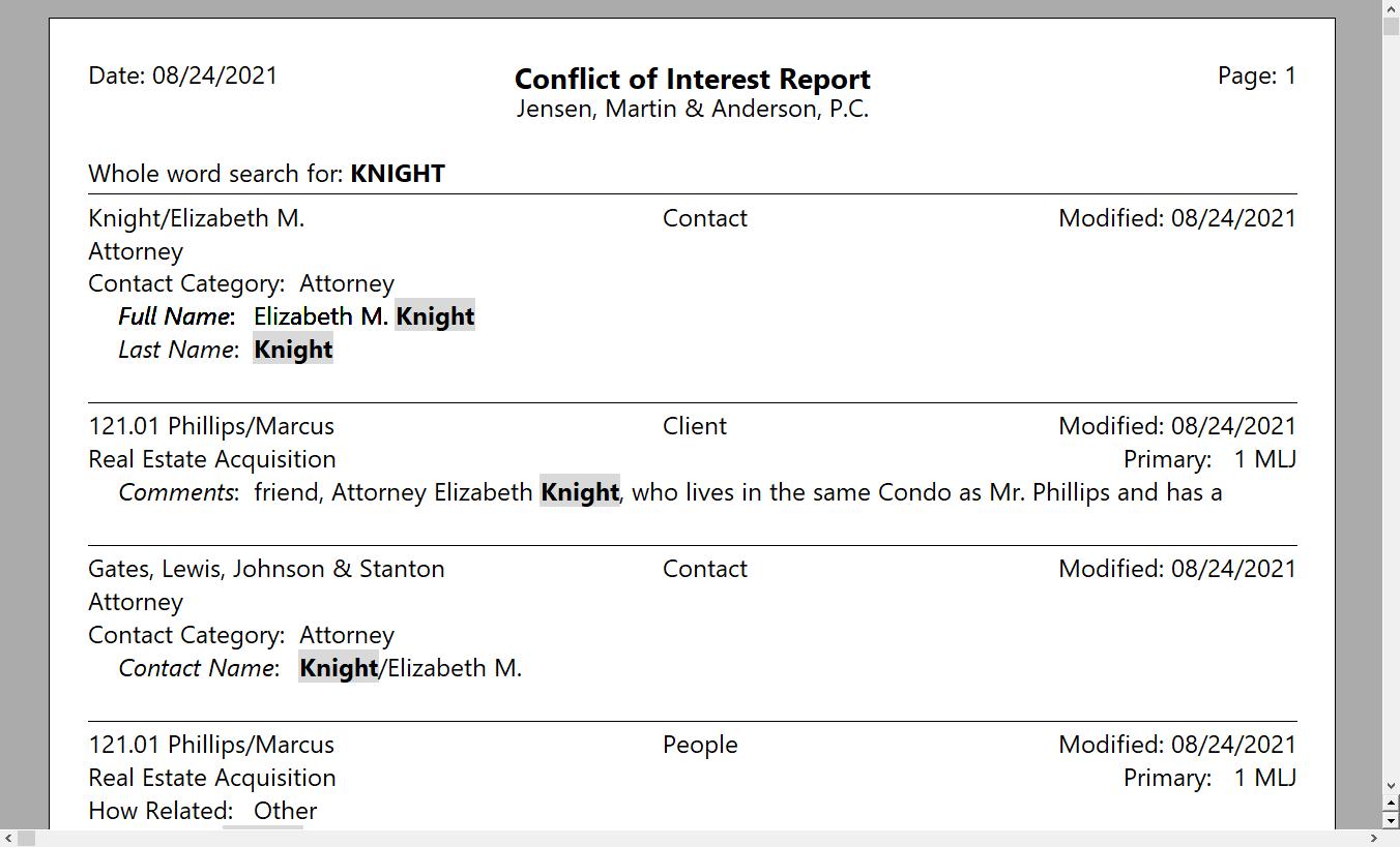 PracticeMaster Conflict of Interest Report