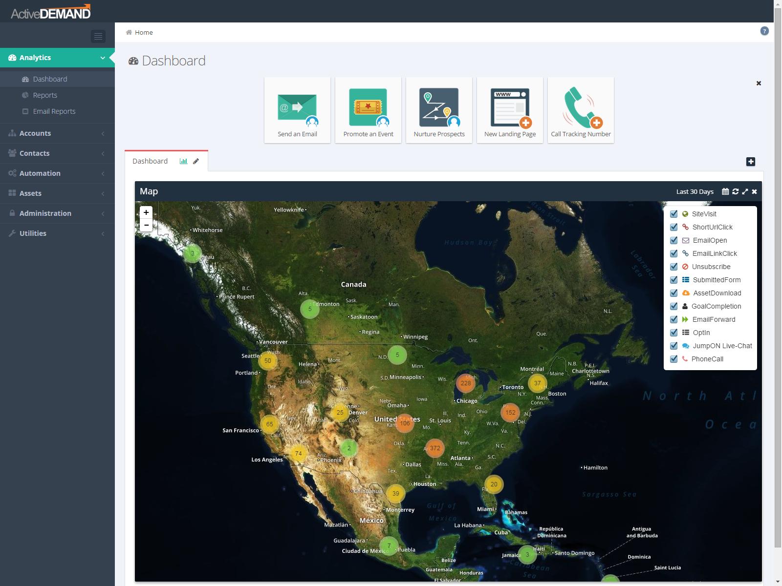 ActiveDEMAND Software - ActiveDEMAND dashboard map