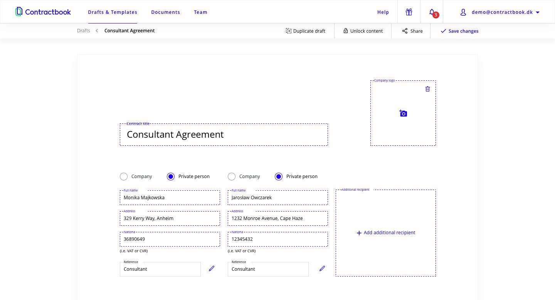 Contractbook Software - Draft