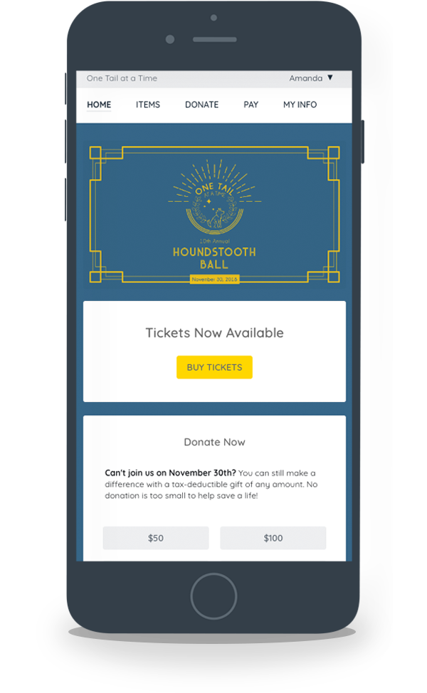 GiveSmart mobile ticketing portal