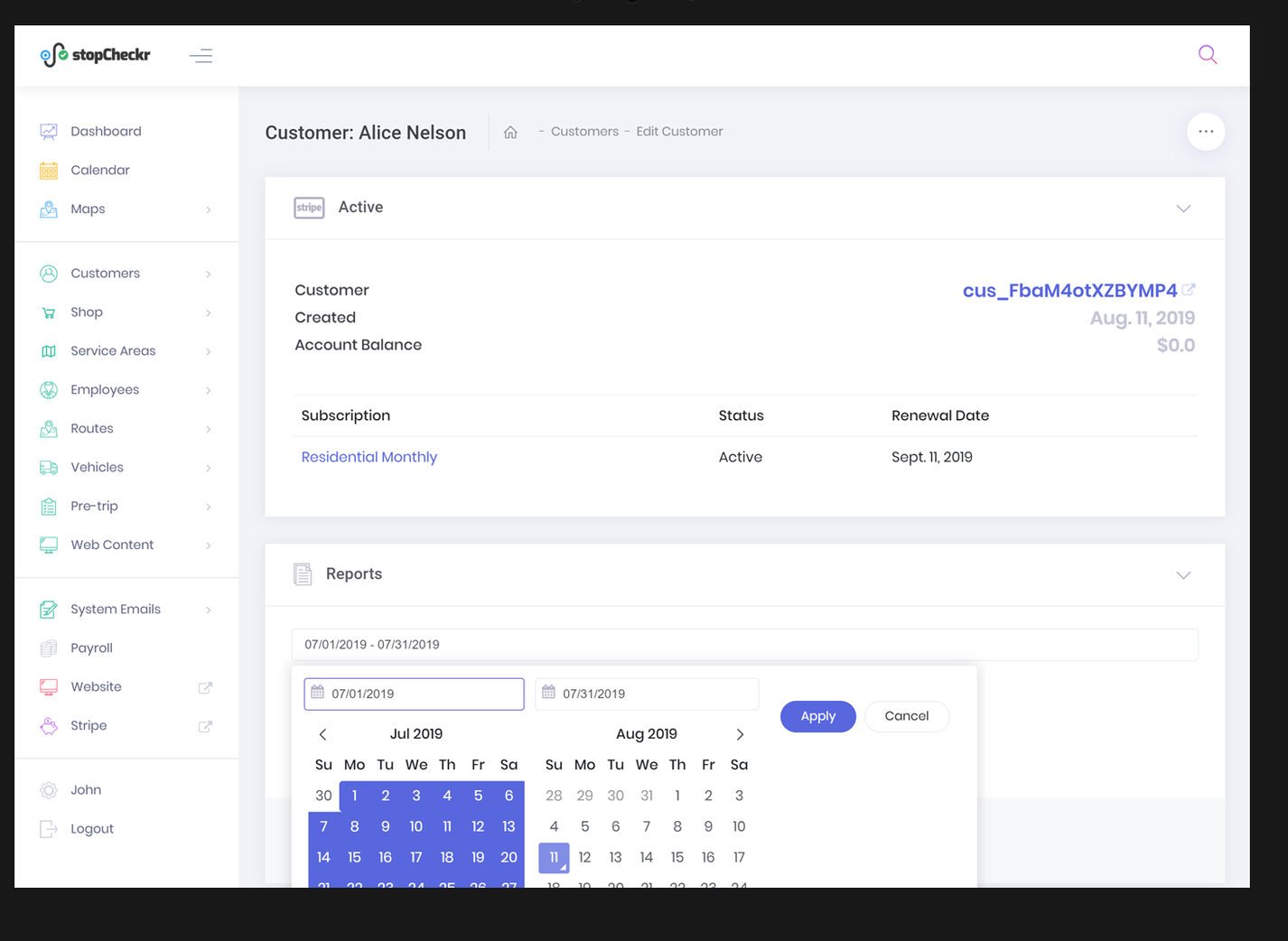stopCheckr billing screenshot