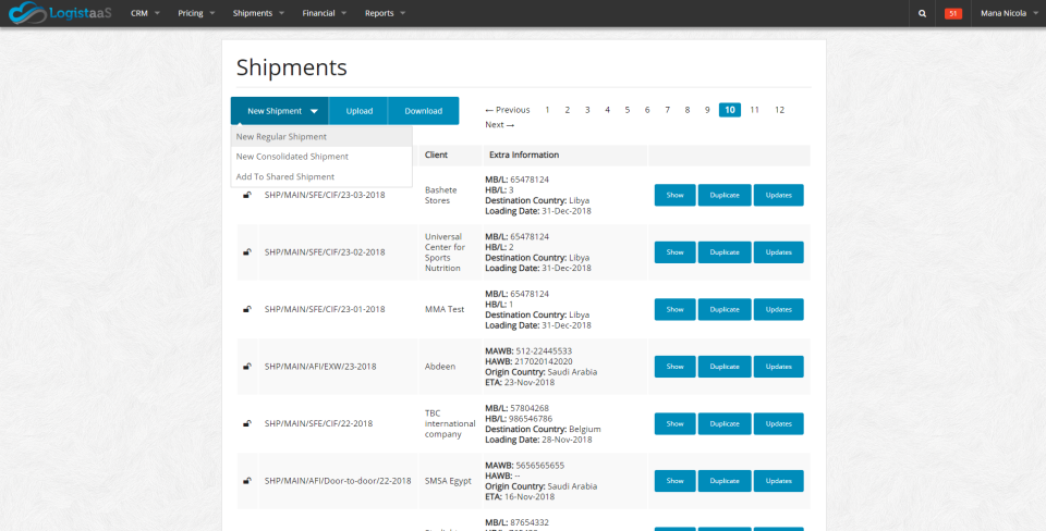 The shipments module allows users to track shipment status