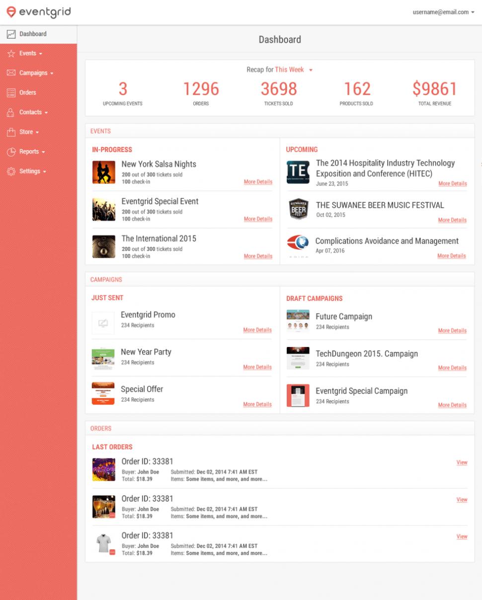 Eventbrite Software - Dashboard