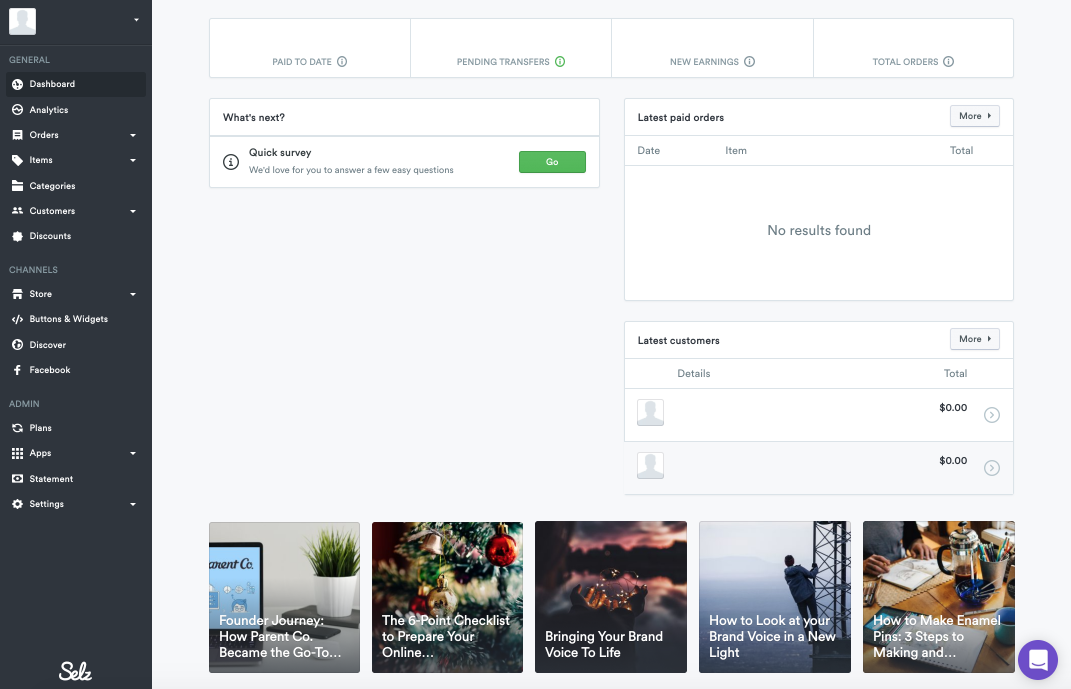 Selz expanded dashboard