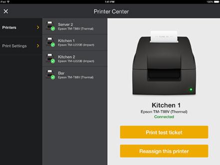 Printing checks on Upserve POS