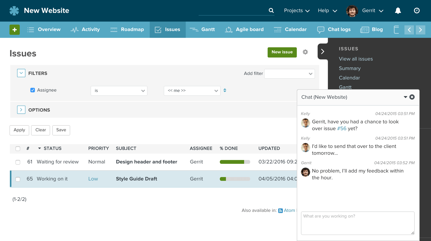 Issue Tracking and Chat Integrated in Planio
