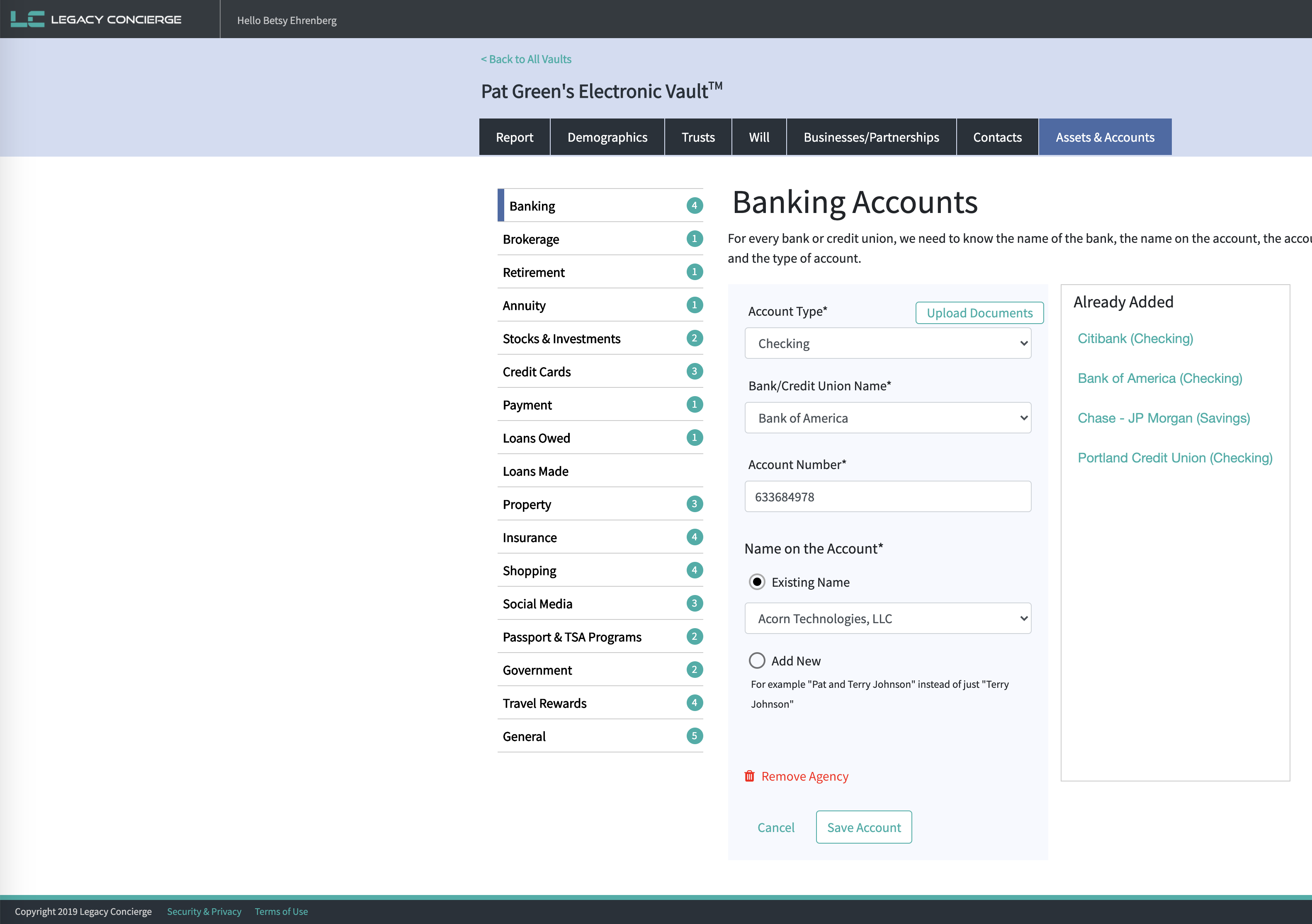 Legacy Vault banking accounts
