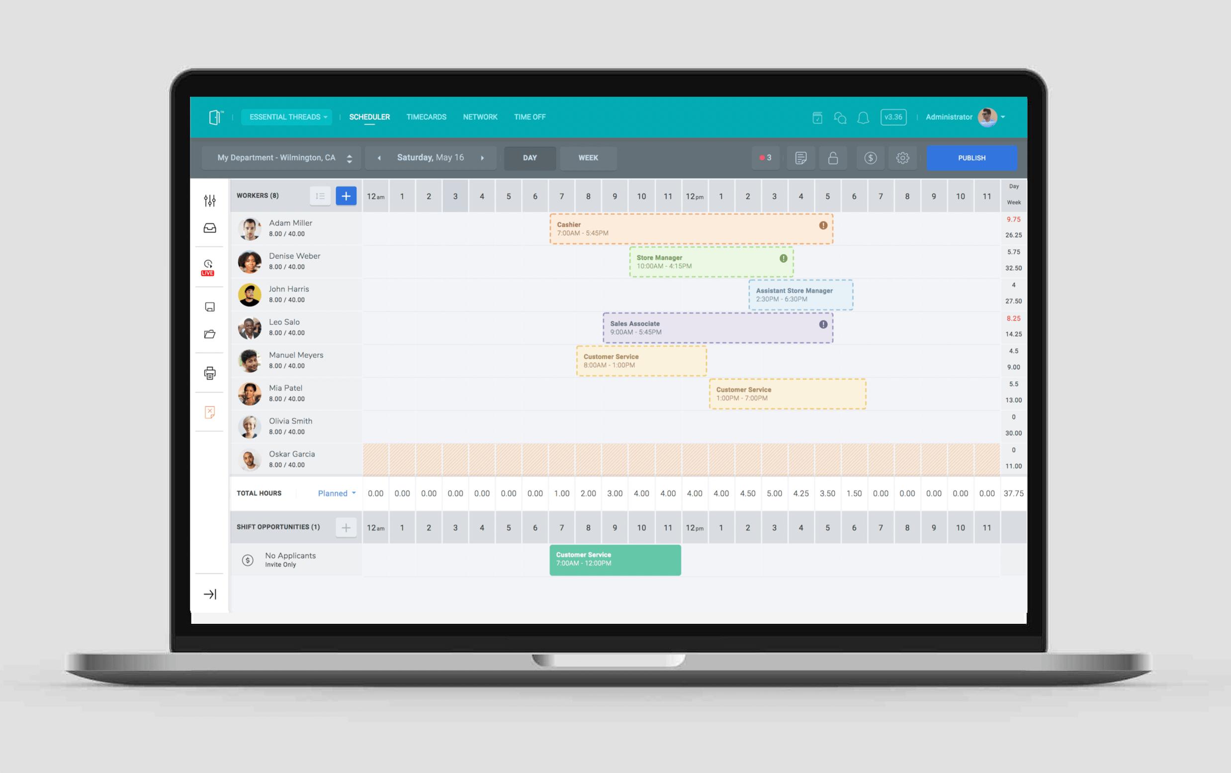 SocialSchedules Software - Manager's Daily Scheduler