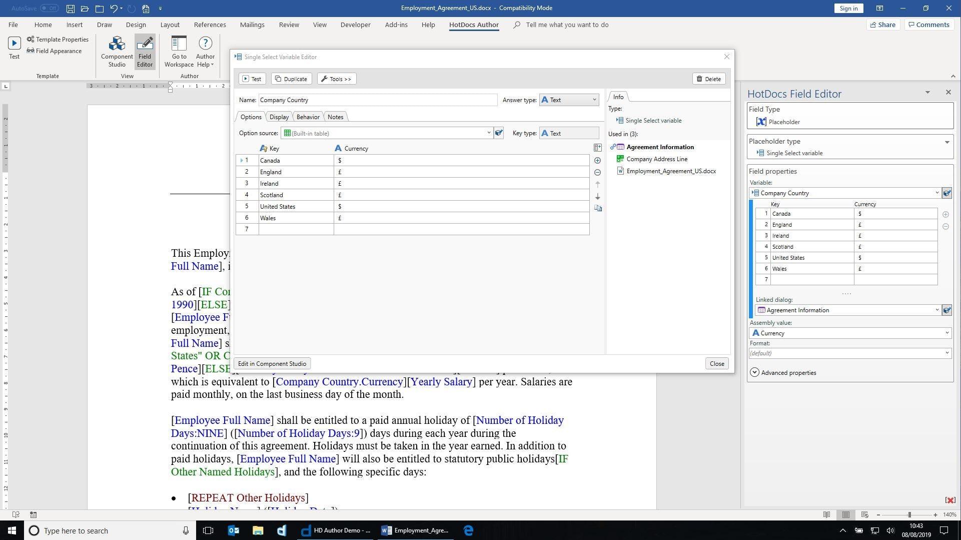 HotDocs Software - Author Field Editor