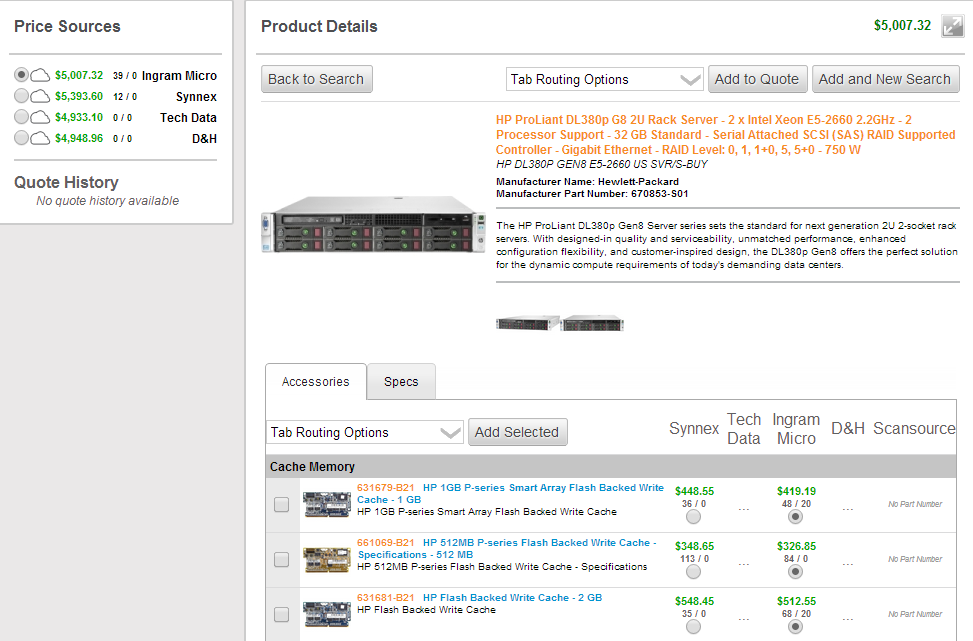 ConnectWise Sell screenshot: Real-Time Distributer Pricing
