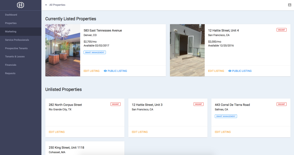 Hemlane screenshot: Oversee and manage listings all from one place