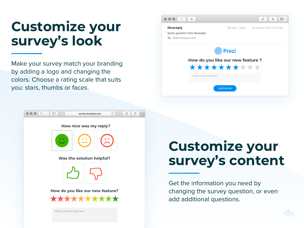 Trigger surveys after resolving a ticket in your helpdesk. See customer feedback in the same ticket afterwards.