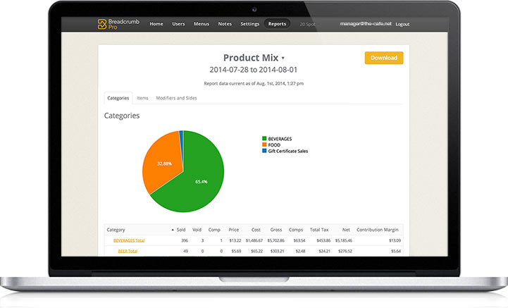 Upserve Software - Real-time reports on Upserve POS
