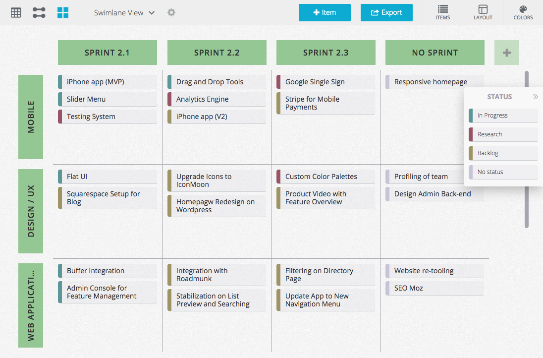 The sprint roadmap helps create short term roadmaps to visualize upcoming sprints