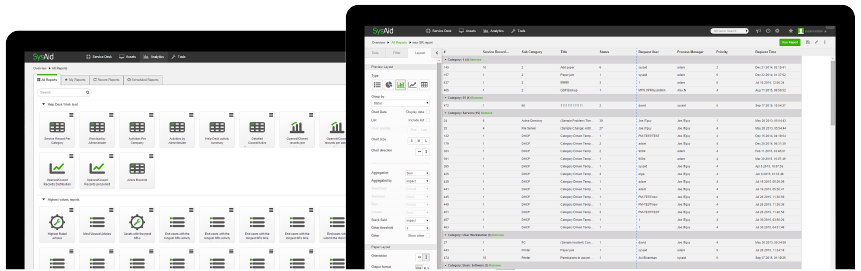 SysAid Reporting includes 70+ pre-built reports, plus you can easily create codeless, tailored reports using an intuitive, drag-and-drop UI.