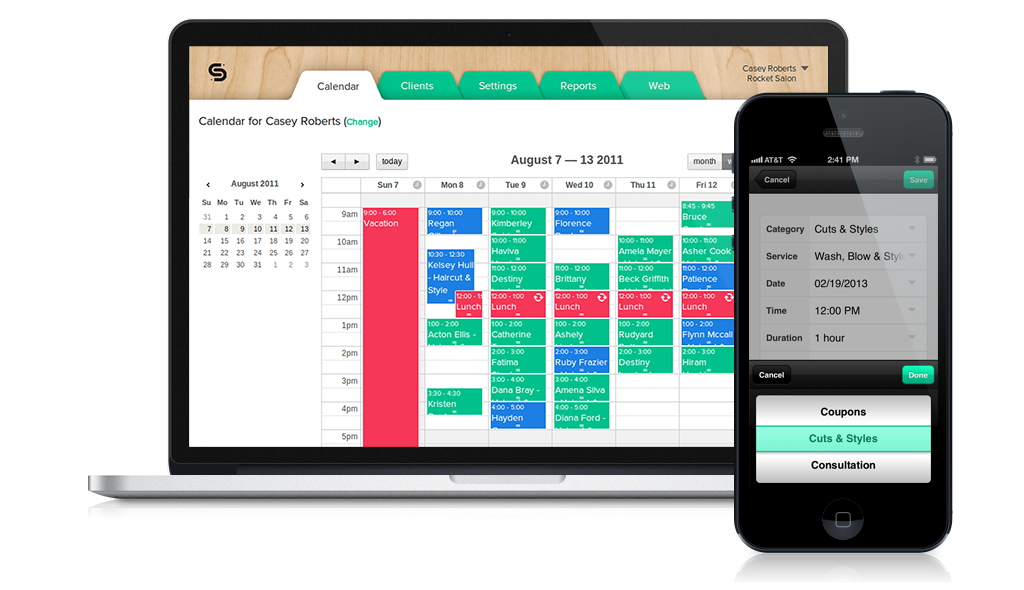 Schedulista screenshot: Clients can schedule appointments online anywhere, anytime, from any device