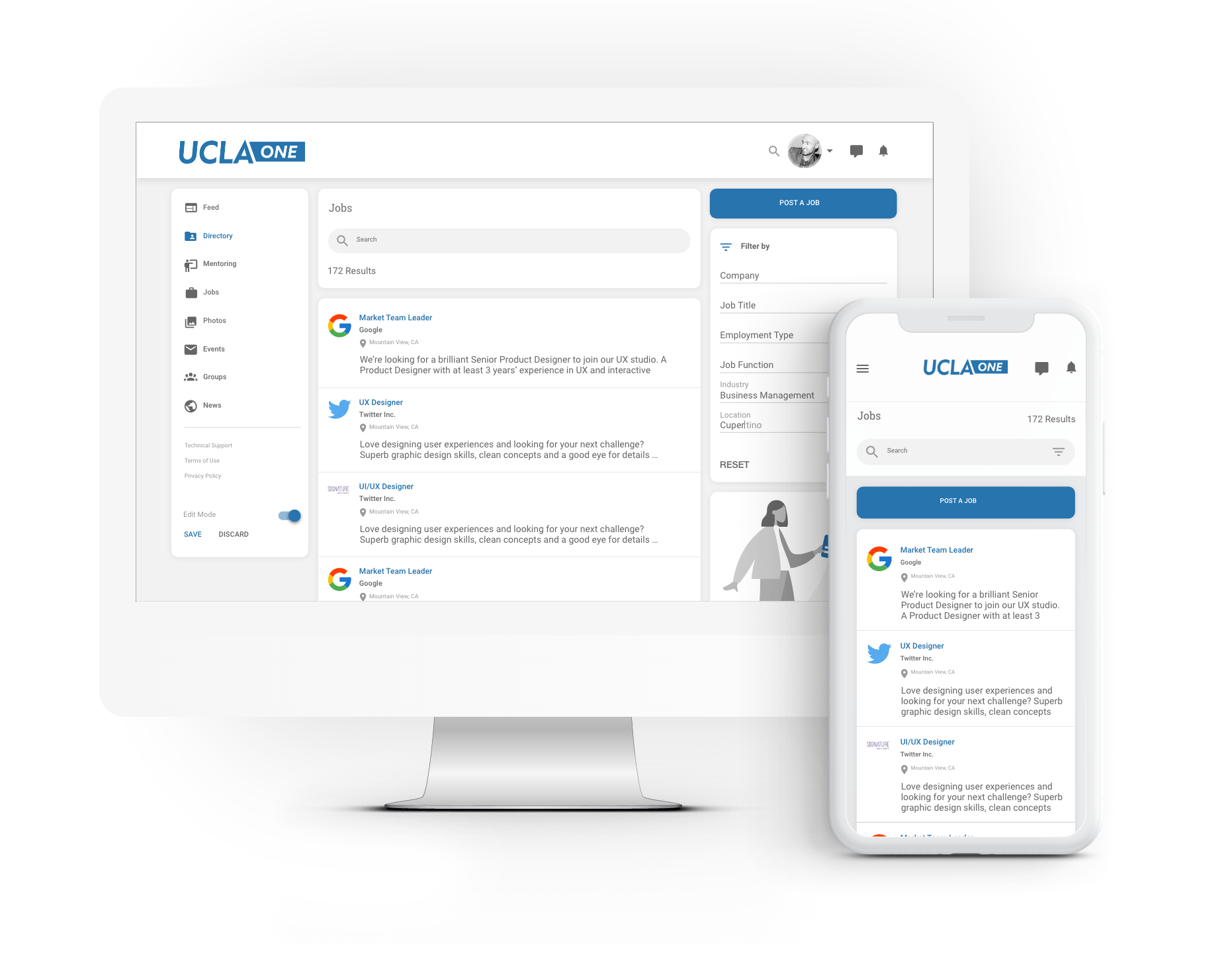 One centralized area to post, or view, job opportunities and internships. The board seamlessly integrates 3rd party RSS feeds such as Handshake and Indeed.