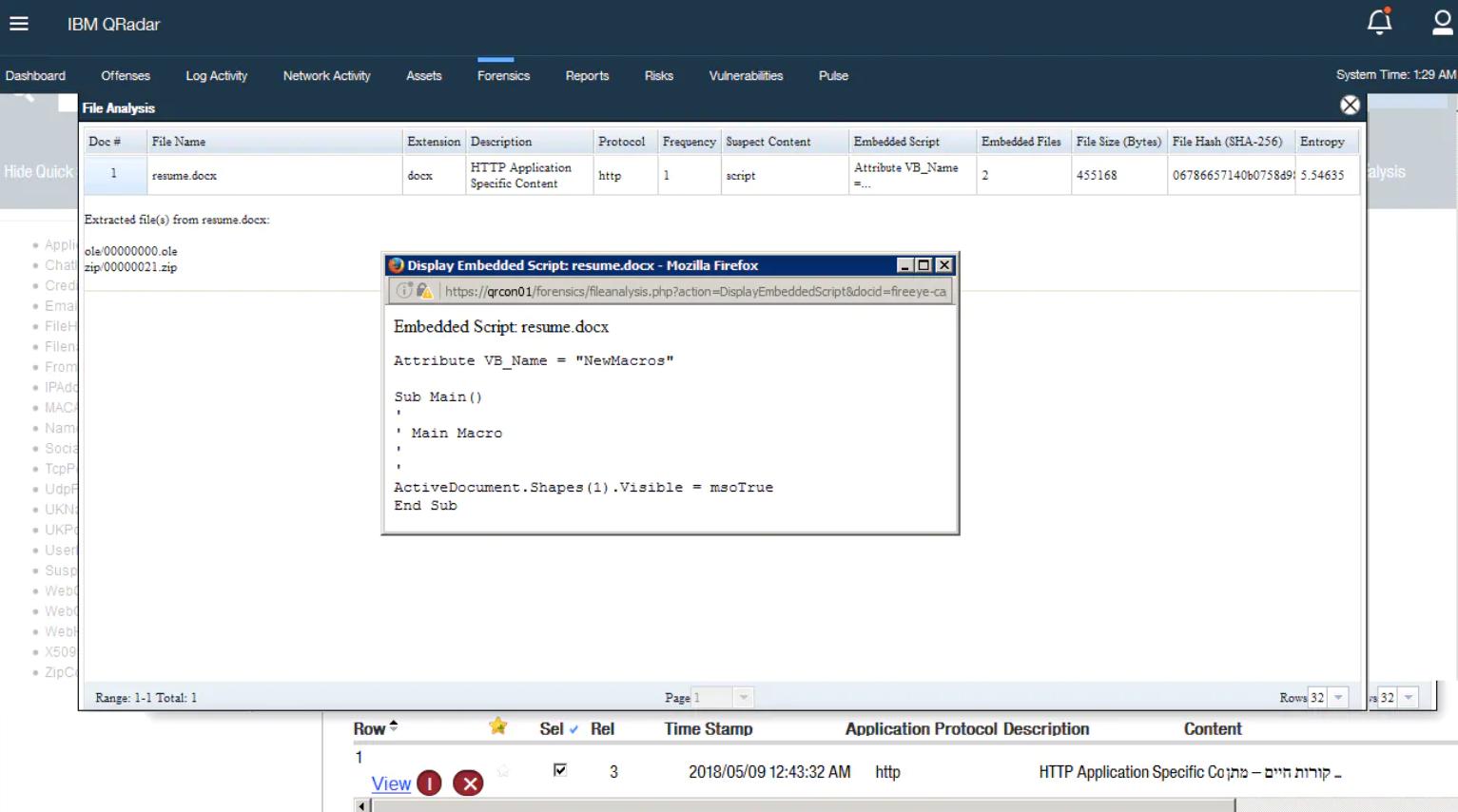 IBM QRadar Incident Forensics file details