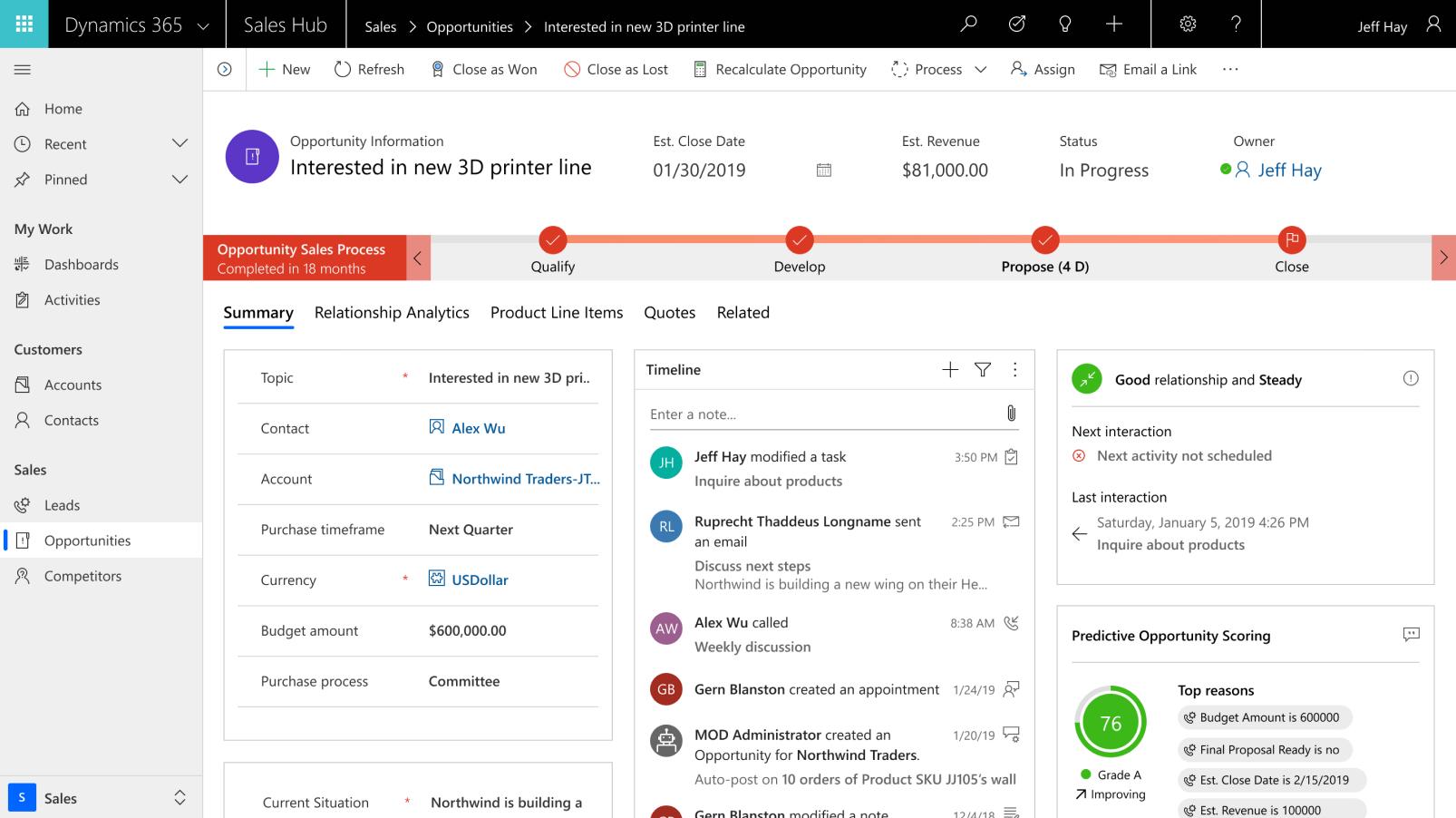 Dynamics 365 screenshot: Microsoft Dynamics 365 sales opportunity tracking