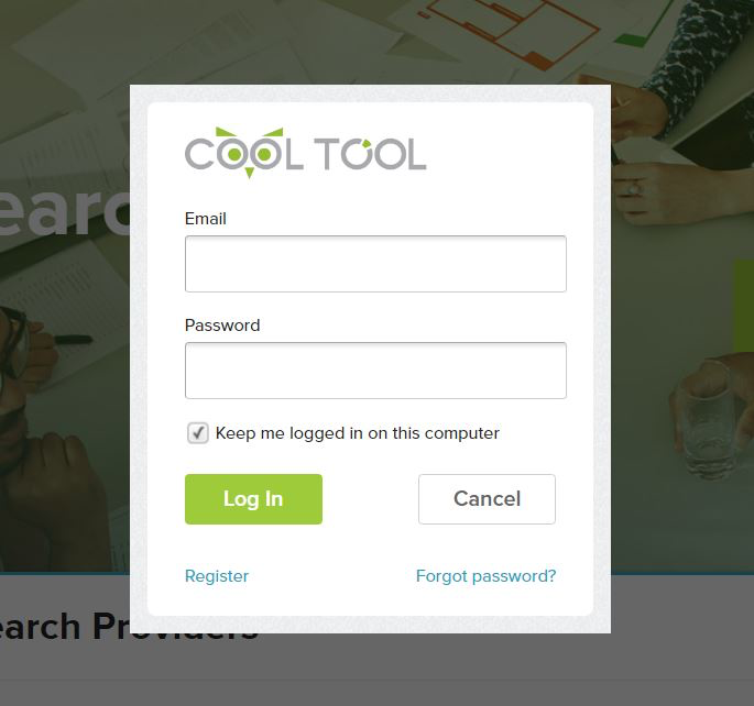 The CoolTool user login page