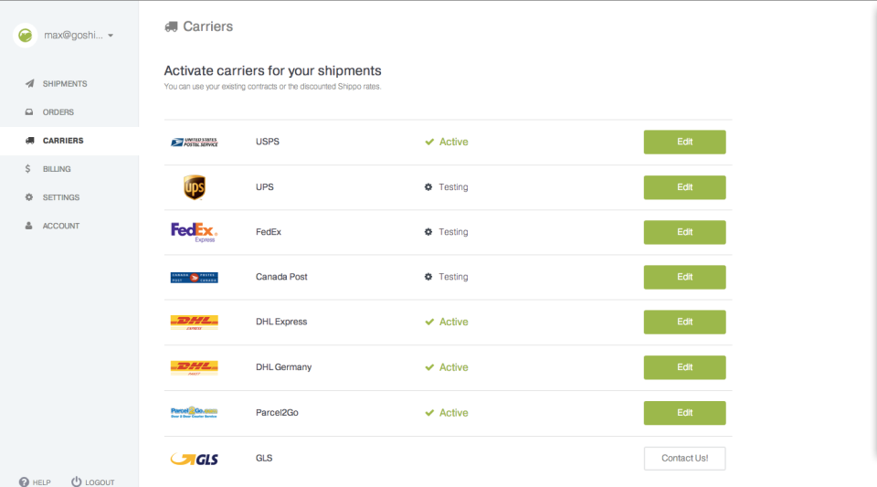 Shippo screenshot: Shippo can be integrated with a range of shipping carriers