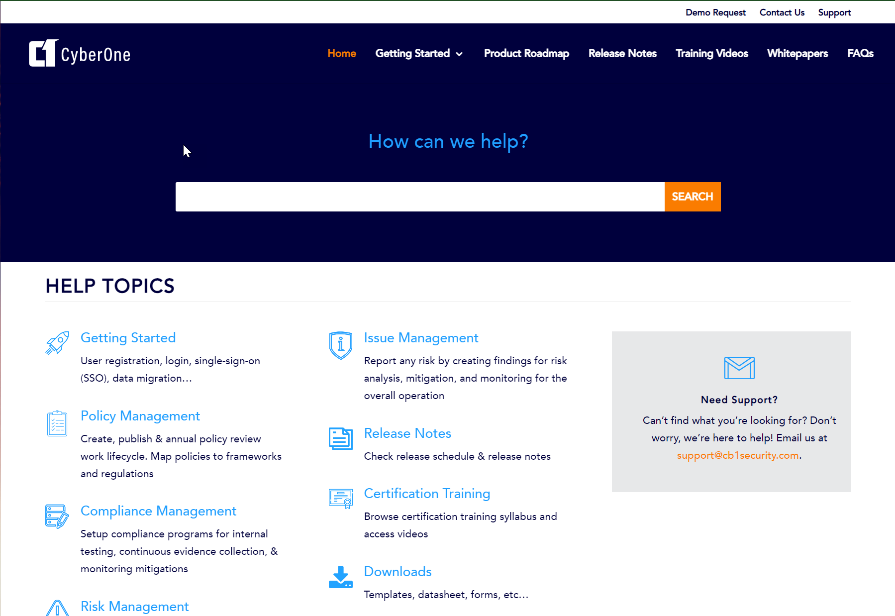 CyberOne Software - Training Site with 300+ videos, policy, assessment, control, risk register templates and more.