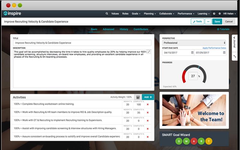 Inspire preparing goals & OKRs screenshot