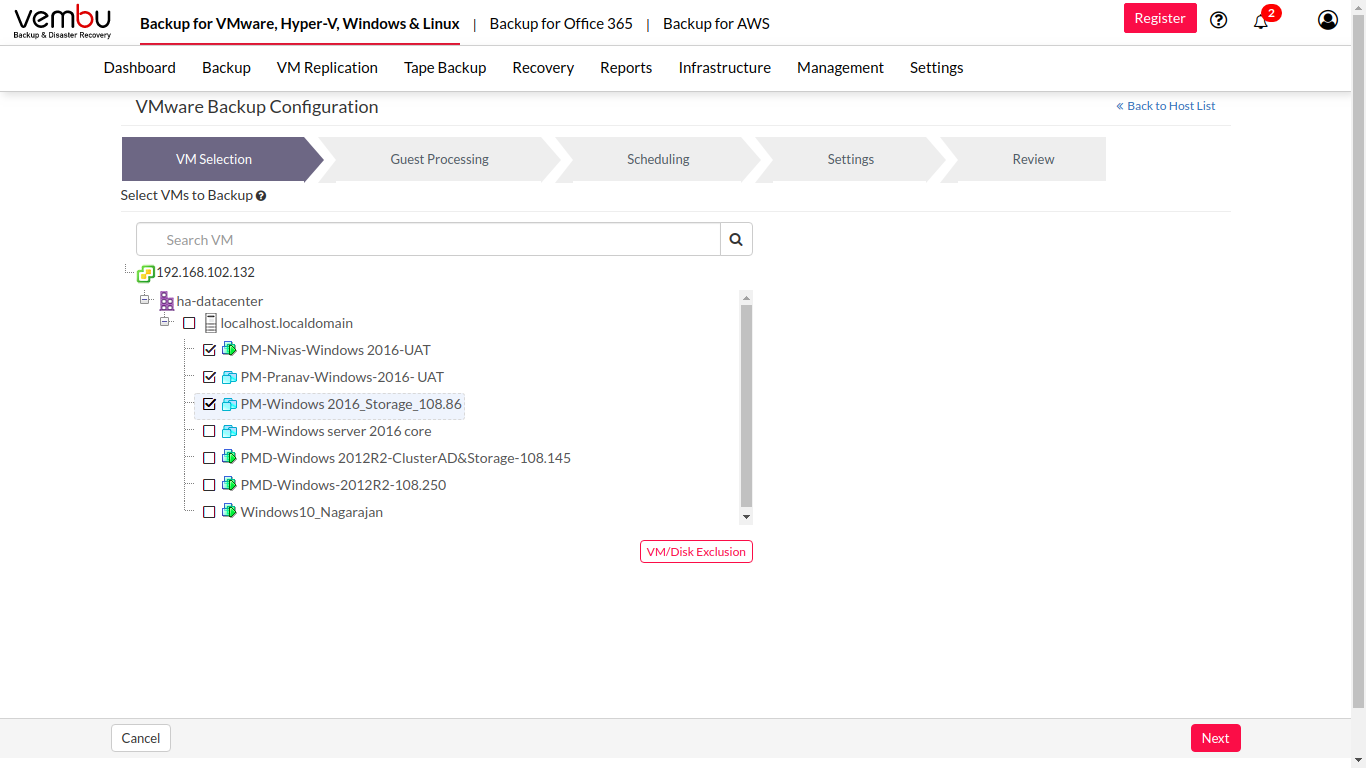 Vembu BDR Suite virtual machine selection