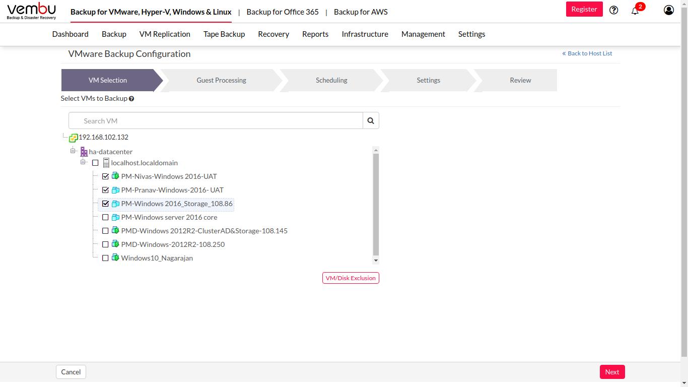 Vembu BDR Software - Vembu BDR Suite virtual machine selection