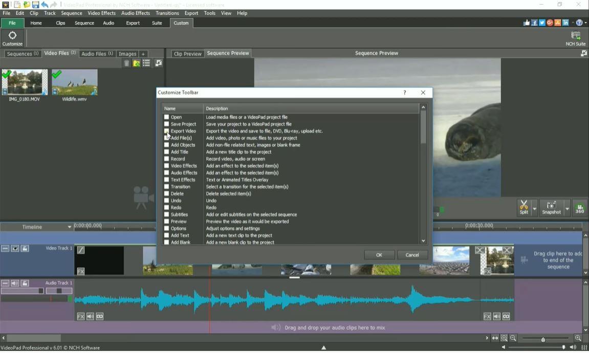 VideoPad toolbar
