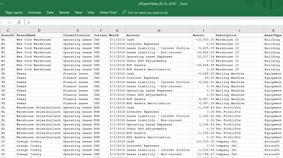 UGAAP export table