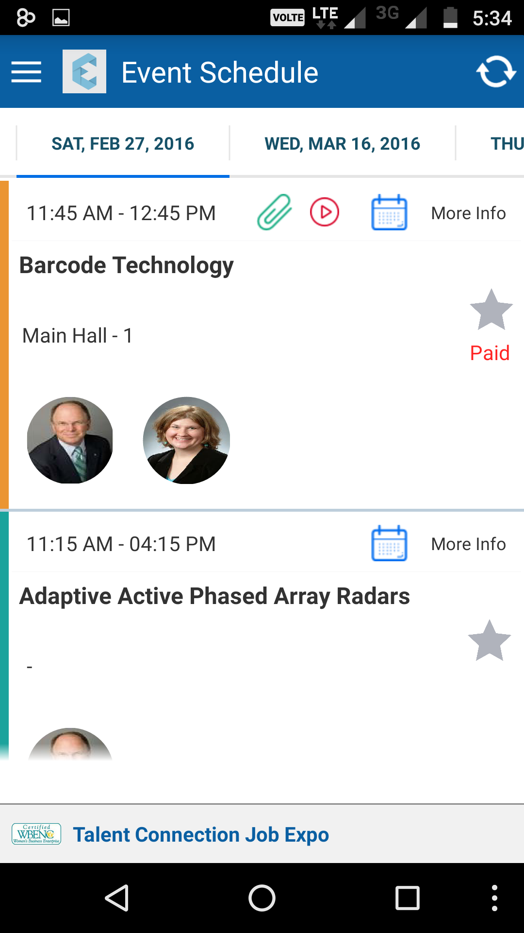 Eventdex Software - Event schedule