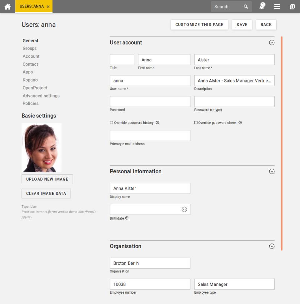 Univention Corporate Server user profiles