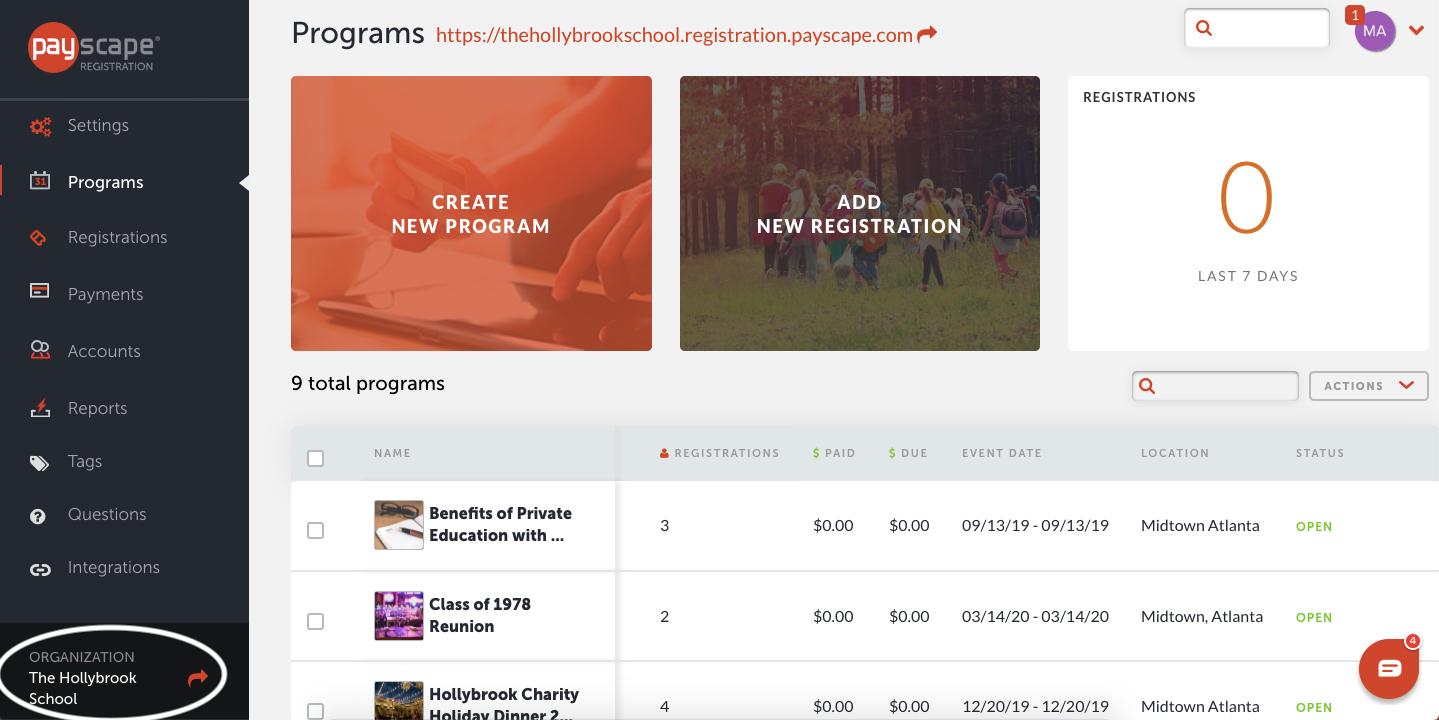 Payscape Registration screenshot: Payscape Registration admin dashboard screenshot