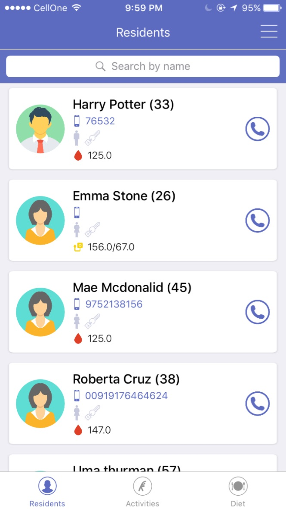 Manage a list of residents and search by name