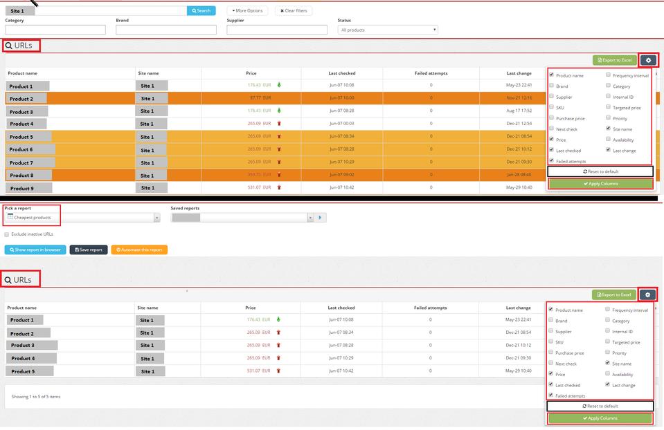 Price2Spy Software - Price2Spy URL list