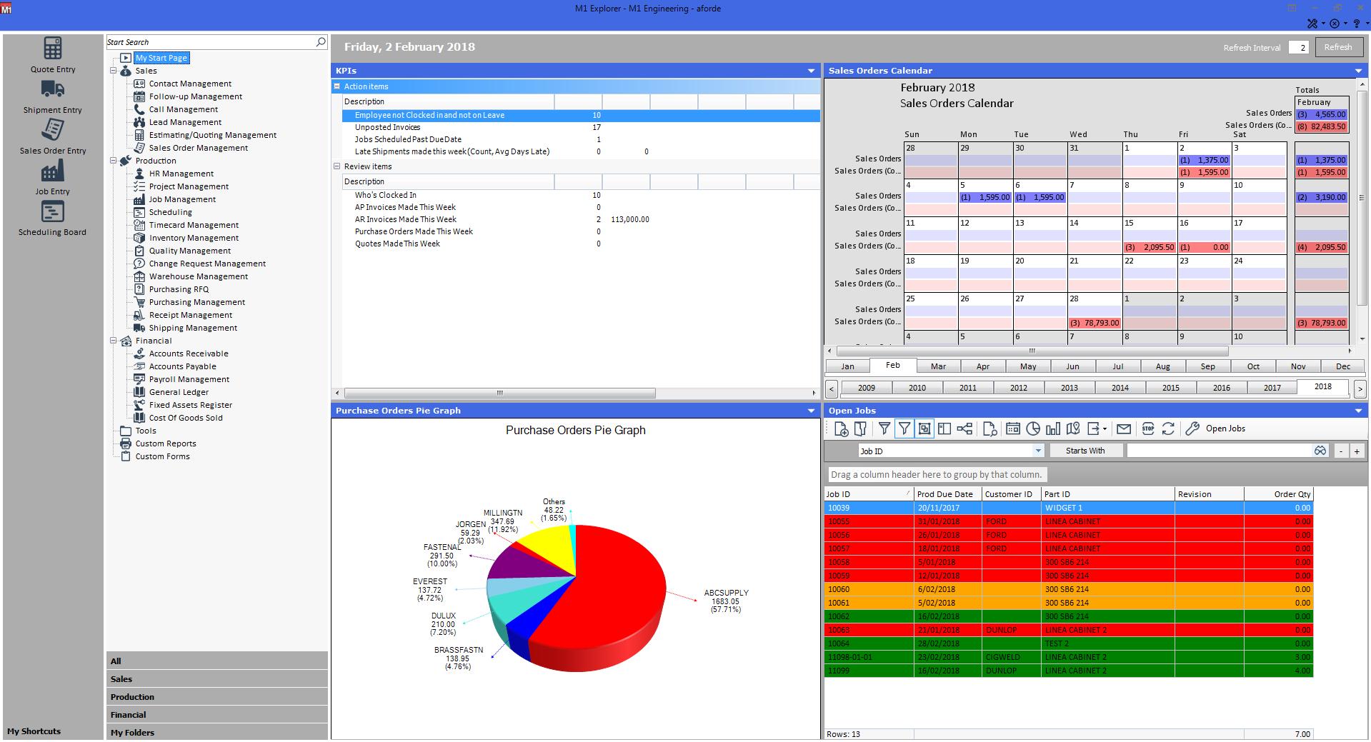 M1 ERP Software - M1 start page