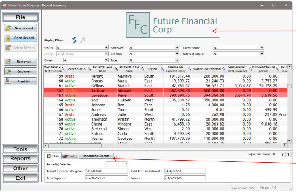 Margill Loan Manager record summary screenshot