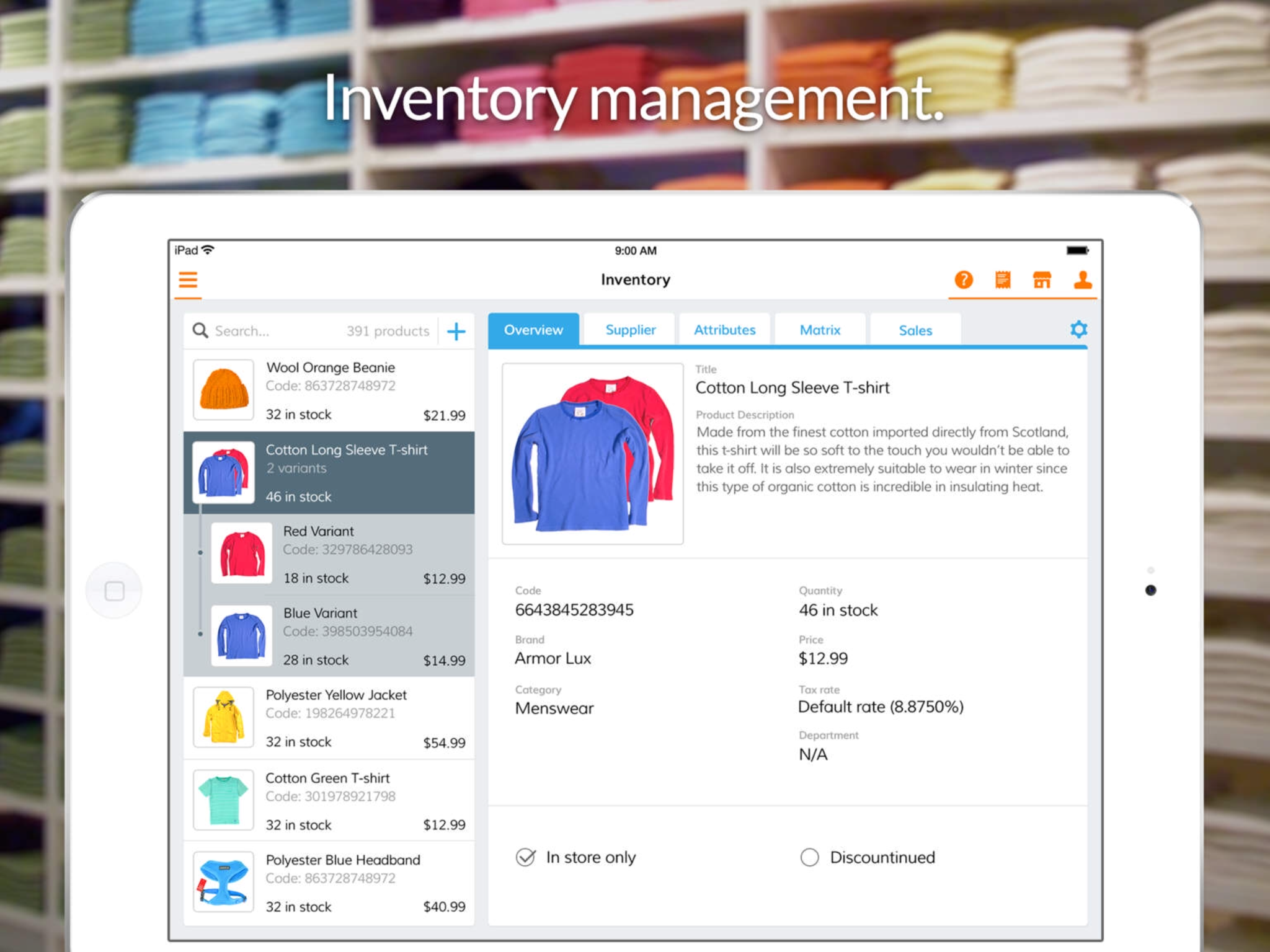 Add, delete and search inventory easily